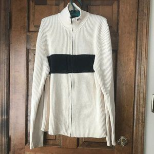 Vintage Polo Jeans Co. Ivory/Navy Zip-Up Sweater